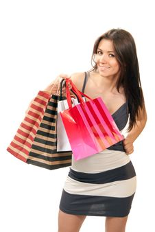 Free Beautiful Sexy Woman With Gift Shopping Bags Royalty Free Stock Photos - 18989298