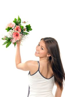 Free Woman Throw Away Flowers Roses Wedding Bouquet Royalty Free Stock Image - 18989316