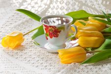 Free Morning Cup Of Tea With Yellow Tulips Stock Images - 18989384