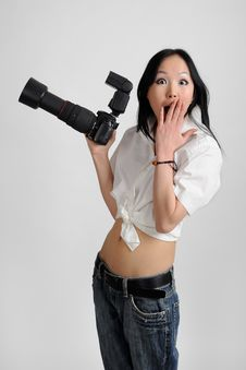 Asian Woman With Photo Camera Royalty Free Stock Photos
