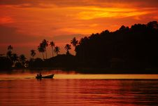 Free Colorful Sunset Over The River And A Boat Stock Photos - 18989873