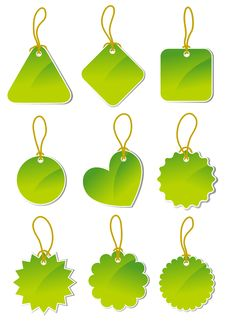 Free Set Of Green Stickers Royalty Free Stock Photos - 18990208