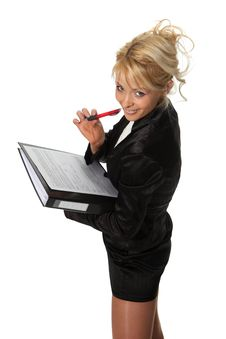 Free Businesswoman With A File Royalty Free Stock Photography - 18990217