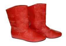 Free Pair Of Red Leather Boots Stock Photography - 18991212