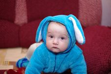 Baby Boy In Suit Of The Rabbit Stock Photos