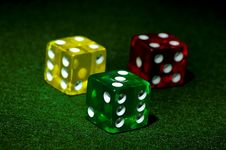 Free Red Yellow And Green Dice Stock Photography - 193482