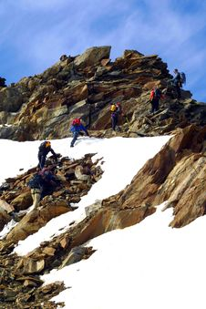 Ice Climbing Group Royalty Free Stock Image