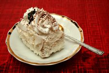 Free Slice Of A Pie With A Cream On A Red Background Royalty Free Stock Photography - 1903147