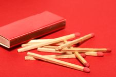 Free Red Matches With Box On Red Stock Images - 1904094