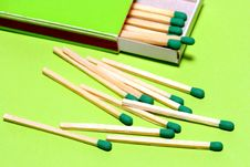 Free Green Matches With Box On Geen 2 Stock Images - 1904354