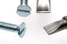 Free Sloted Screws With Screwdriver Bits Stock Image - 1904511