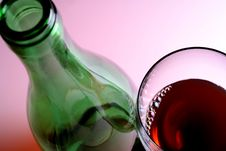 Wine Glass & Bottle Stock Image