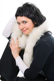 Free Beauty Smiling Brunette Woman In Fur Stock Photo - 1908500
