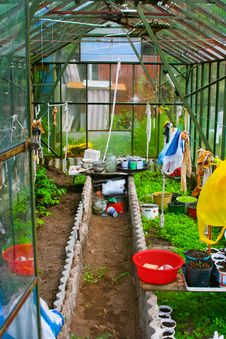 Free Glassy Greenhouse In The Garden Stock Image - 19005621