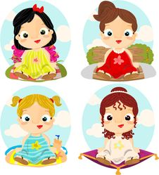 Free Little Princesses With Backgrounds Royalty Free Stock Photos - 19007888