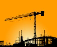 Free Silhouette Of The Tower Crane Stock Photos - 19008043