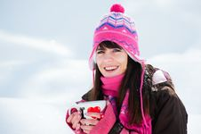 Free Laughing Winter Girl With The Cup Of Tea Royalty Free Stock Photos - 19008528