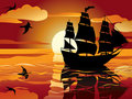 Free Sunset. Sailing Vessel Royalty Free Stock Photos - 19018428