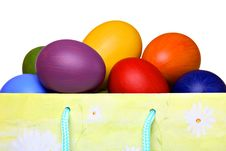 Free Colorful Easter Eggs In Gift Bag Royalty Free Stock Photo - 19010775