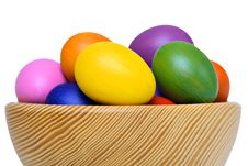 Free Colorful Easter Eggs In Wooden Bowl Stock Photo - 19010800