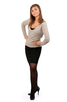 Free Young Business Lady Stands Stock Photo - 19010860
