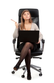Free Young Business Lady In A Chair With A Laptop Stock Images - 19010864