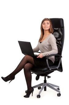 Free Young Business Lady In A Chair With A Laptop Stock Photos - 19010883
