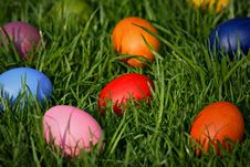 Free Colorful Easter Eggs Hidden In The Grass Stock Image - 19010951