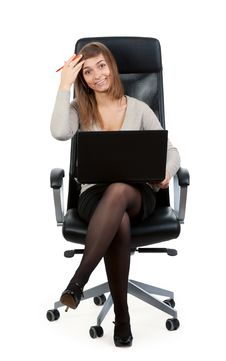 Free Young Business Lady In A Chair With A Laptop Royalty Free Stock Photo - 19011055