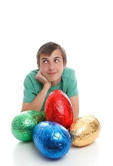 Free Boy With Large Easter Eggs Royalty Free Stock Photography - 19012387