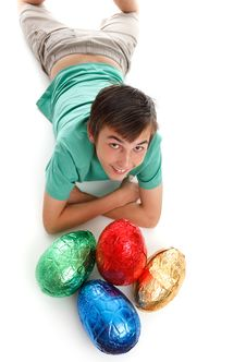 Free Boy With Four Large Easter Eggs Royalty Free Stock Photography - 19012717