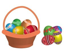 Free Basket With Easter Eggs. Royalty Free Stock Photo - 19012755