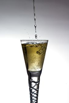 Free Champagne Pouring Into Glass Royalty Free Stock Photos - 19013418