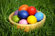 Free Colorful Easter Eggs In Wooden Bowl Stock Image - 19014281