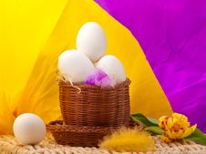 Free Eggs In Straw Basket With Yellow And Purple Backgr Royalty Free Stock Photos - 19014348