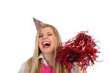 Pretty Party Female Celebrating Birthsday Royalty Free Stock Photo
