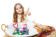 Little Girl And Easter Eggs Royalty Free Stock Image