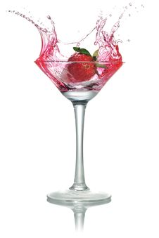 Strawberries Into The Glass, Stock Photography