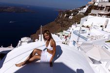 Free Woman In White With Santorini View Royalty Free Stock Photos - 19016738