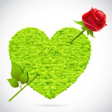 Free Grass Heart With Rose Arrow Stock Photos - 19016743