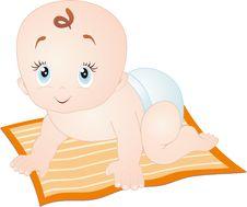 Free Baby Crawling, Isolated On White Stock Image - 19017221