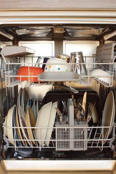 Open Dishwasher Stock Photo
