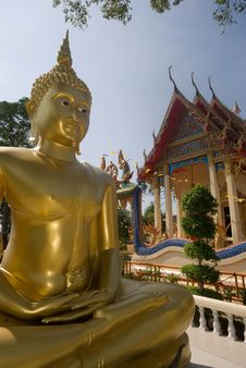 Free Outdoor Golden Big Buddha . Royalty Free Stock Photos - 19019268