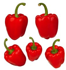 Free Muliple Peppers Isolated - Set Royalty Free Stock Images - 19019609