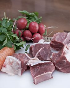 Raw Beef And Vegetables Royalty Free Stock Images