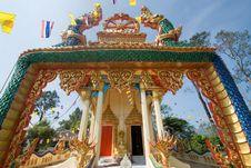 Serpents At Entrance To Thai Church. Stock Photos