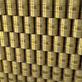 Free Wall Of Golden Oil Barrels Stock Photography - 19021312
