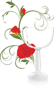 Free Wine Glass And Bouquet Of Roses Stock Photo - 19021200