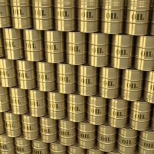 Wall Of Golden Oil Barrels Stock Photography