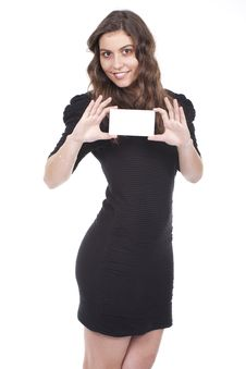 Free Woman Holds Empty Card Stock Images - 19022464